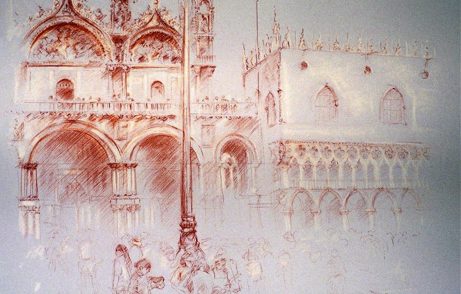 Watercolor Elga Dzirkalis Architecture Drawing SanMarco 01