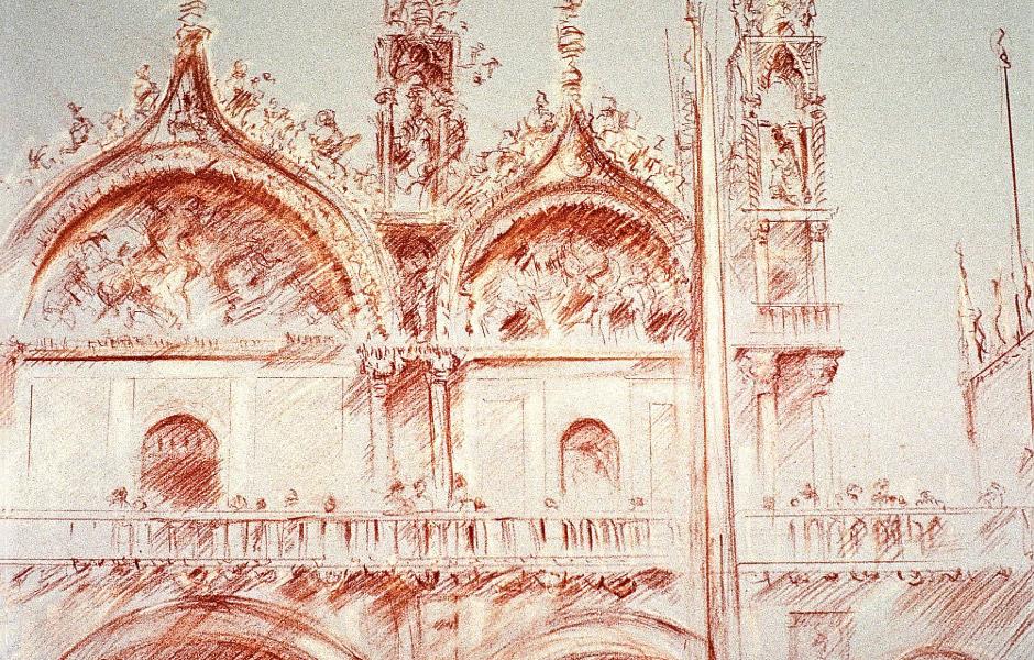 Watercolor Elga Dzirkalis Architecture Drawing SanMarco 02
