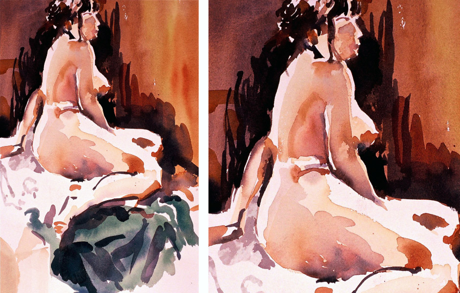 Watercolor Elga Dzirkalis Nude Dana Bartlett NWS