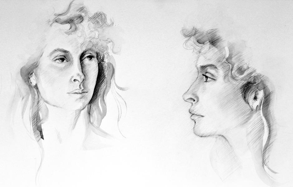 Watercolor Elga Dzirkalis Portraits Drawing Jan 01
