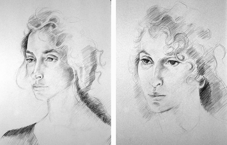 Watercolor Elga Dzirkalis Portraits Drawing Jan 02