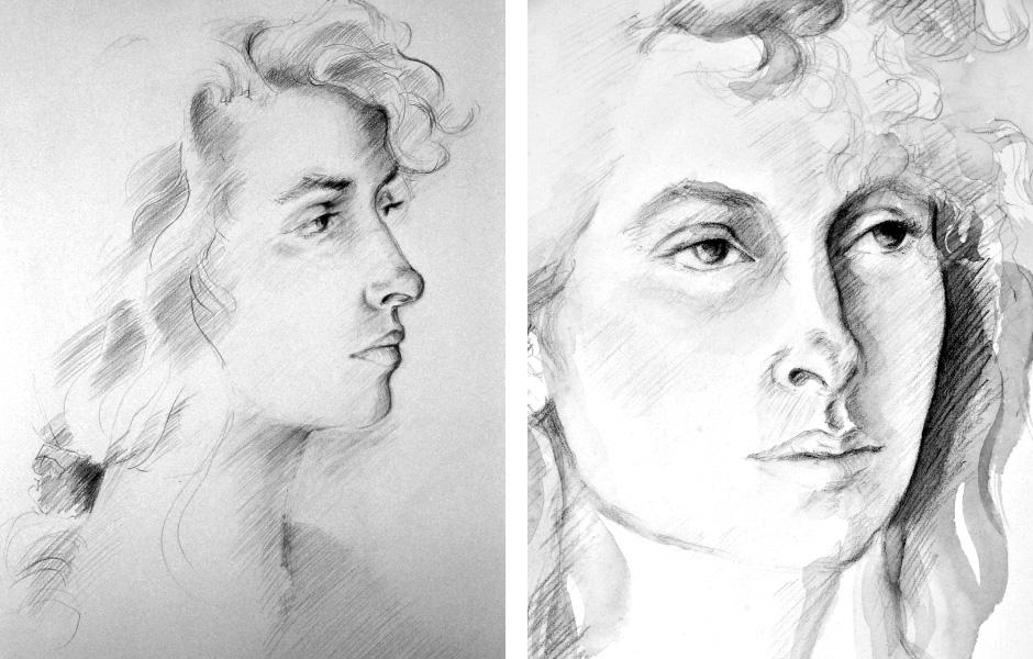 Watercolor Elga Dzirkalis Portraits Drawing Jan 03