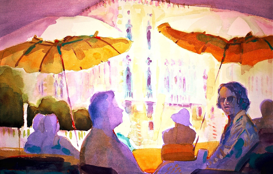 Watercolor Elga Dzirkalis The Light Series Lunch At The Foscarini 05