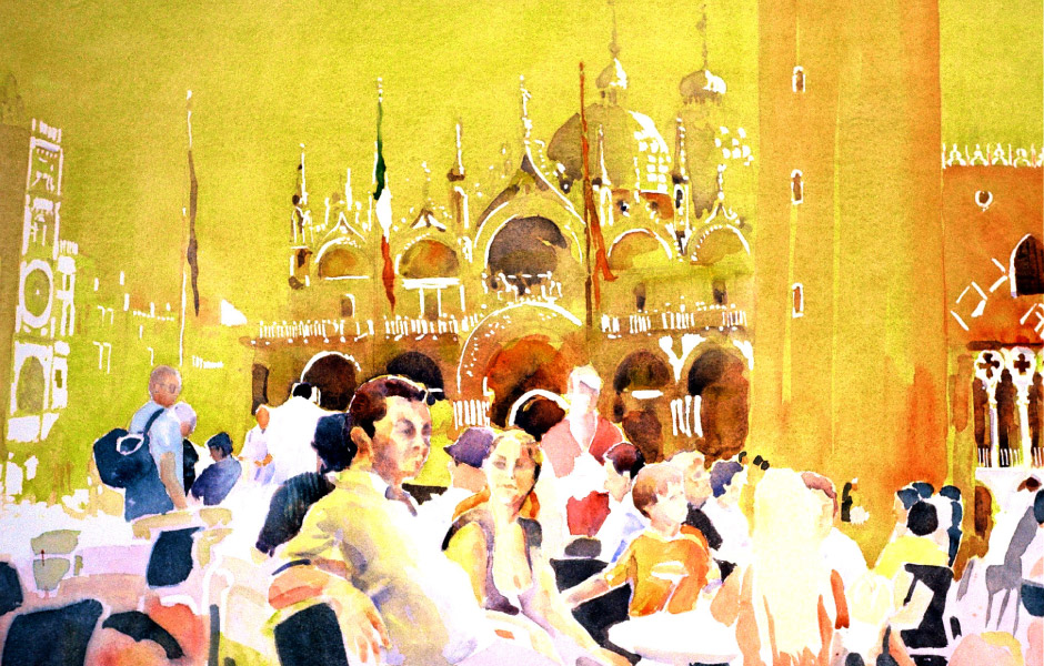 Watercolor Elga Dzirkalis The Light Series Piazza Sunlight