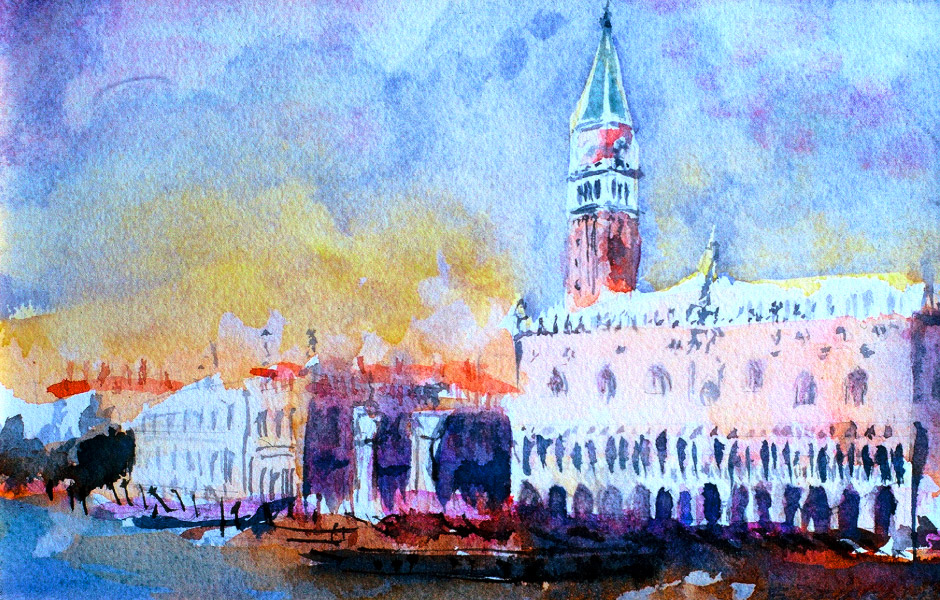 Watercolor Elga Dzirkalis Venice 1 01