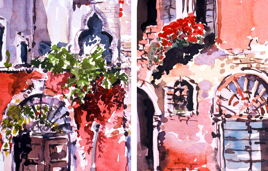 Watercolor Landscape Painting of Venice II 01