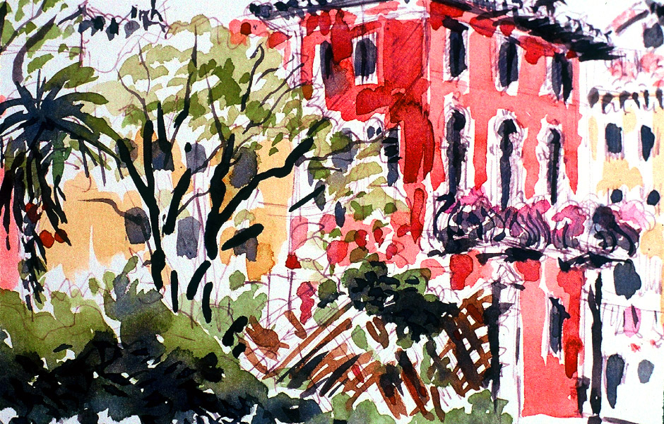 Watercolor Landscape Painting of Venice II 02