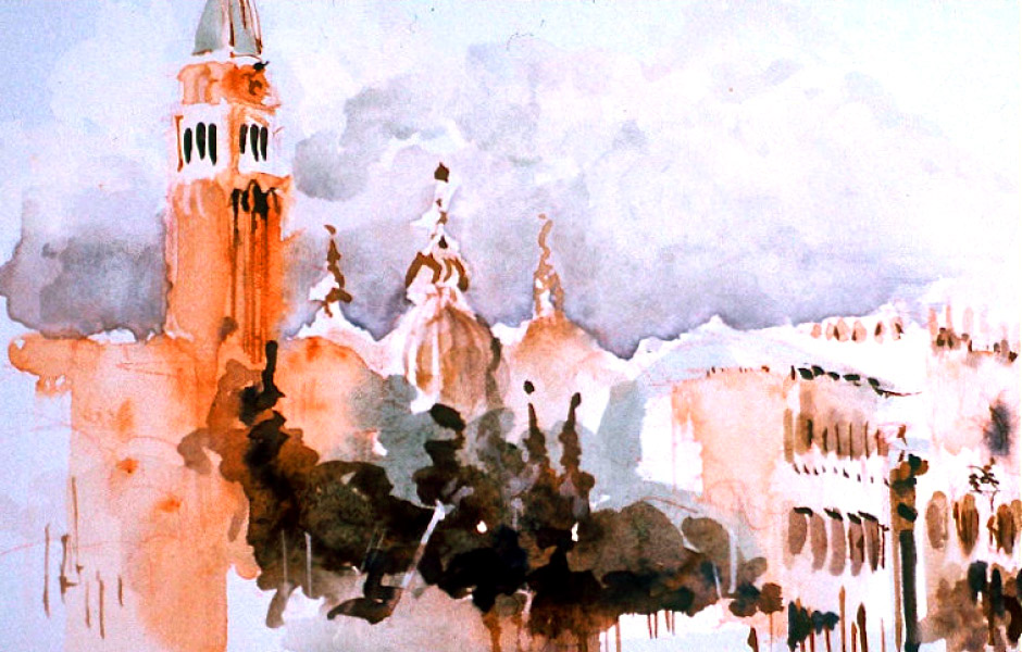 Watercolor Landscape Painting of Venice II 10